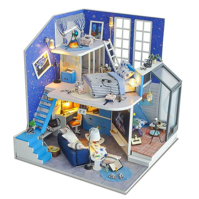 Diy Doll House Furniture Miniature Wooden 3d Doll Houses Miniaturas