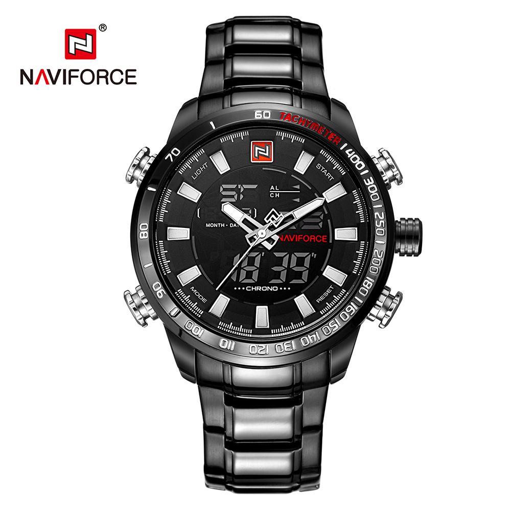 9d255ad4a4f3 Compre NAVIFORCE 9093 Reloj De Cuarzo Digital Para Hombre Relojes Luminosos  De Acero Inoxidable Pantalla Dual Cronógrafo Deportivo Reloj A Prueba De  Agua + ...