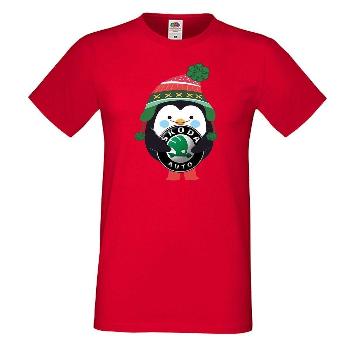 T Shirt Weihnachten.Herren Men T Shirt Skoda Penguin Winter Gift Geschenk Weihnachten