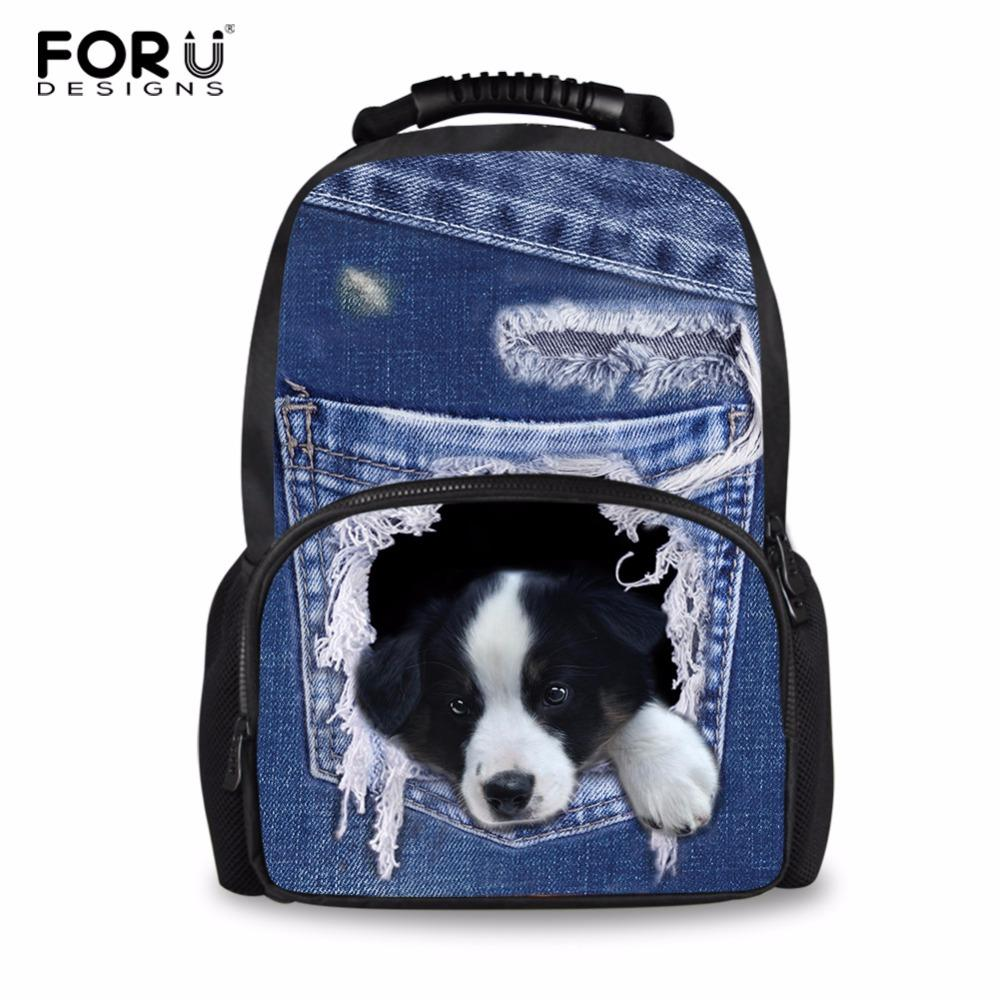 Wholesale Denim Dog Backpacks For Teens School Bag School Backpack