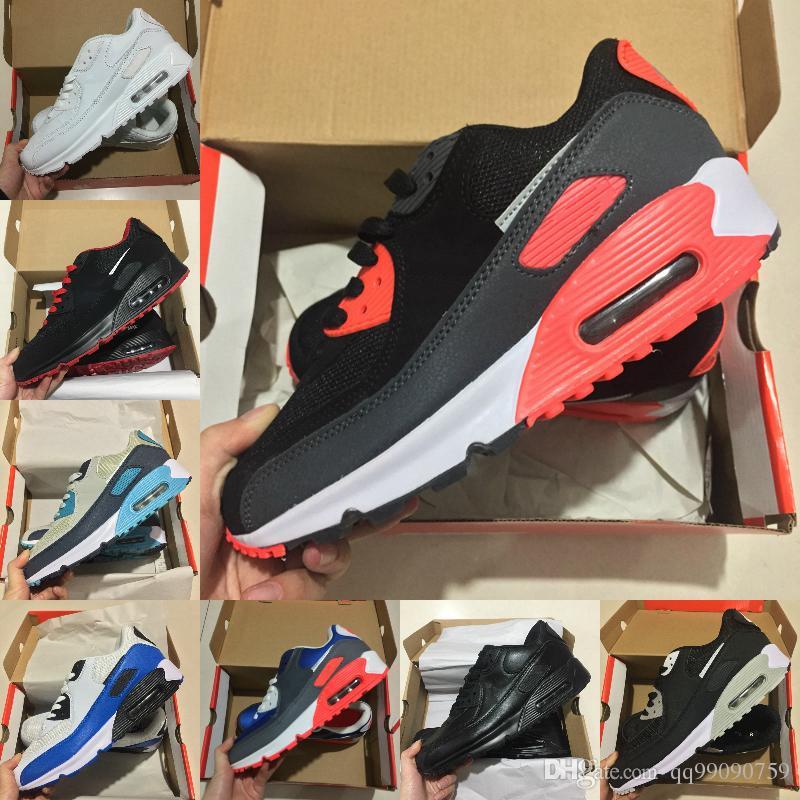 cheap for discount f9cec ff6c3 Compre Nike Air Max 90 Shoes Airmax 90 Nuevo Diseño Air Cushion Air90  Casual Running Shoes Hombre Mujer Alta Calidad Maxes New Black White Blue  Sneakers ...