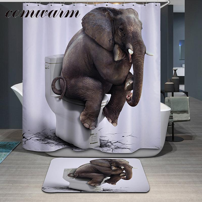 2019 Comwarm Funny Animals Elephant Pattern Polyester Shower Curtain Glasses Dog Bear Shark Panda Printed Waterpoof Bath From Glenae