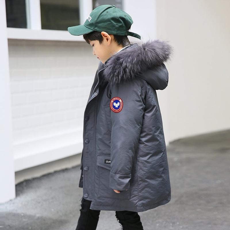 68983decb300 Kids Parkas 2018 Boys Down Jackets Thicken Real Fur Hooded Coat Teenage Boys  10 12 14 16 Years Warmly Children Winter Outerwear Y18102607 Down Jacket  For ...