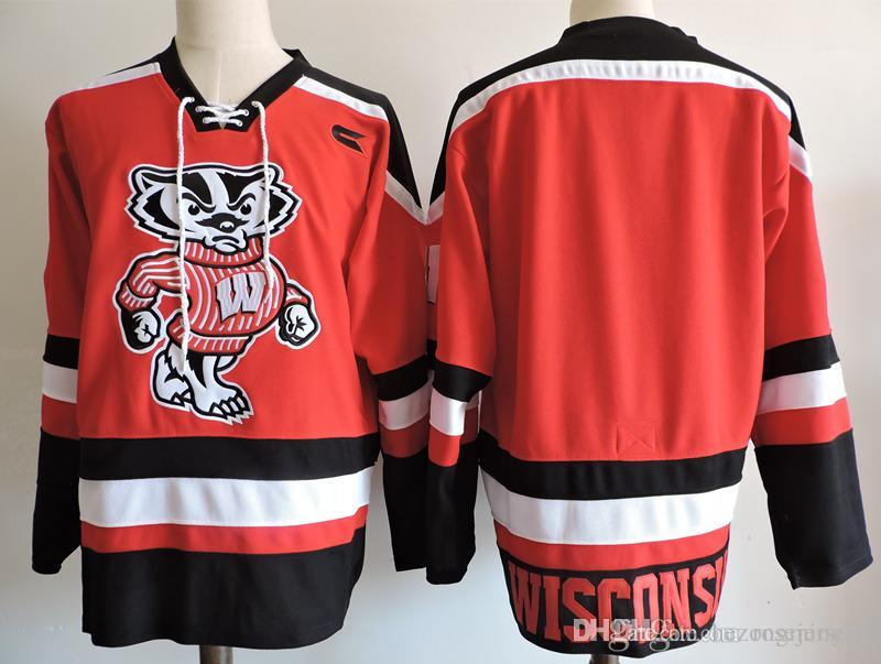 2019 Wisconsin Badgers Red White Big Ten College Hockey Jersey Embroidery  Stitched Customize Any Number And Name College Jerseys From Hezongming77 8891e1a3f6d