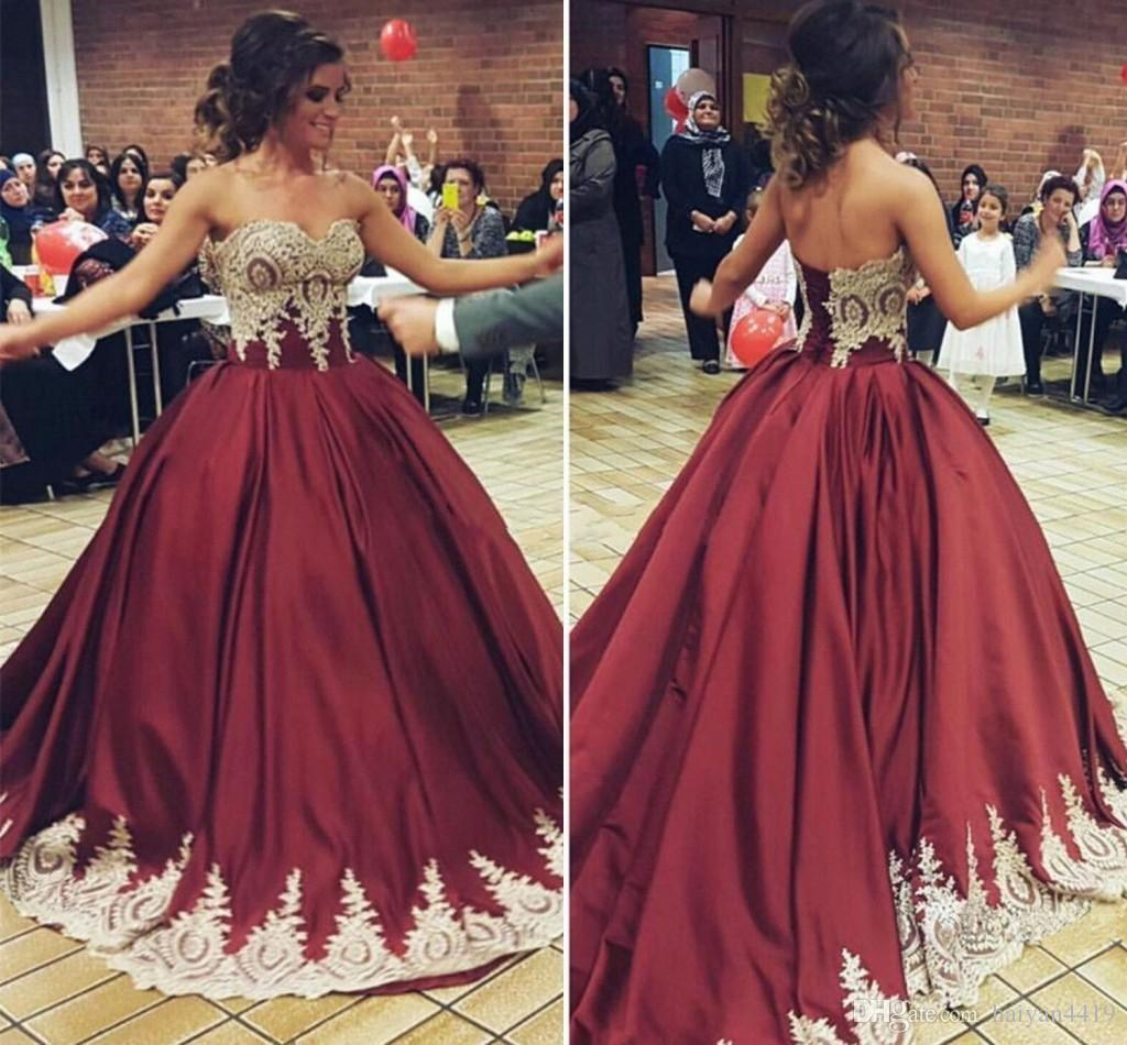 08f002de58 2019 New Burgundy Quinceanera Dresses Sweetheart Sleeveless Lace Appliques  Satin Ball Gown Sweet 16 Corset Plus Size Party Prom Evening Gown  Quinceanera ...