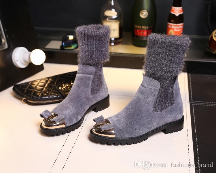 Metal Round Toe Bow Tie Decor Low Donna Stivali Low Decor Heel Sock stivaliies   93b515