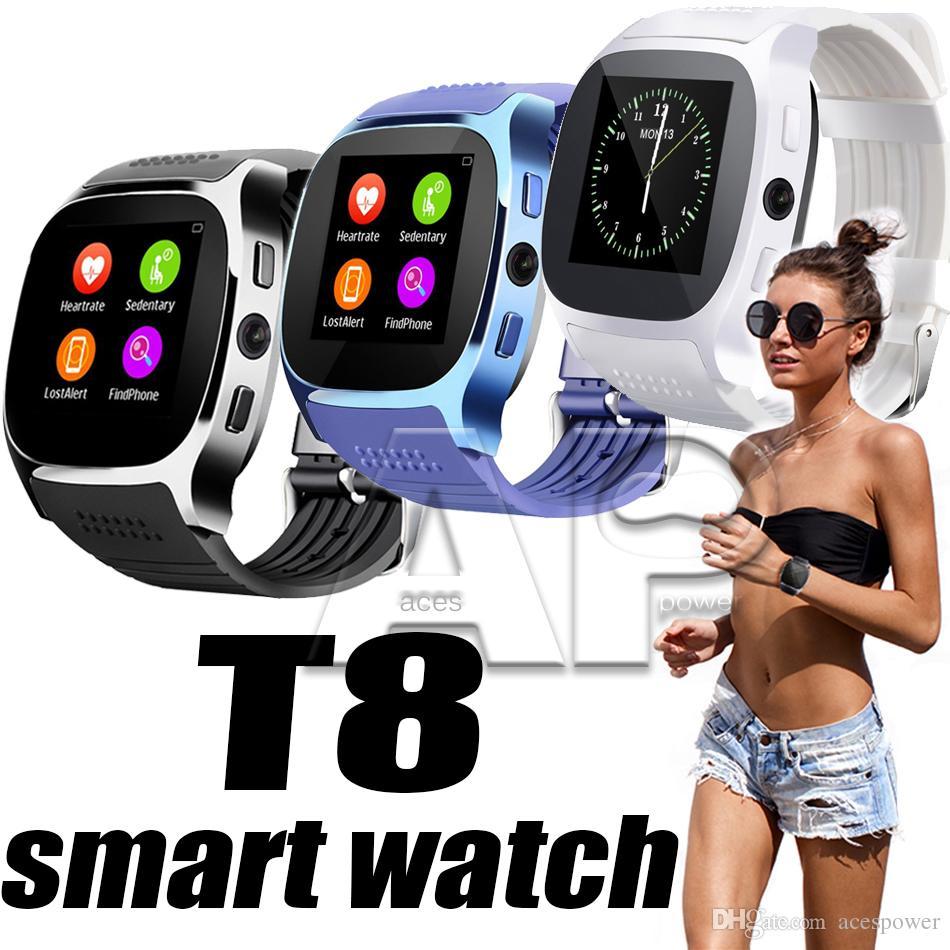 T8 Smart Watch Schrittzähler Uhren Unterstützung SIM TF Karte Mit Kamera Sync Anruf Nachricht Männer Frauen Smartwatch Für Android