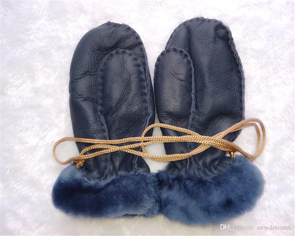 New men and women children outdoor warm gloves leather wool gloves