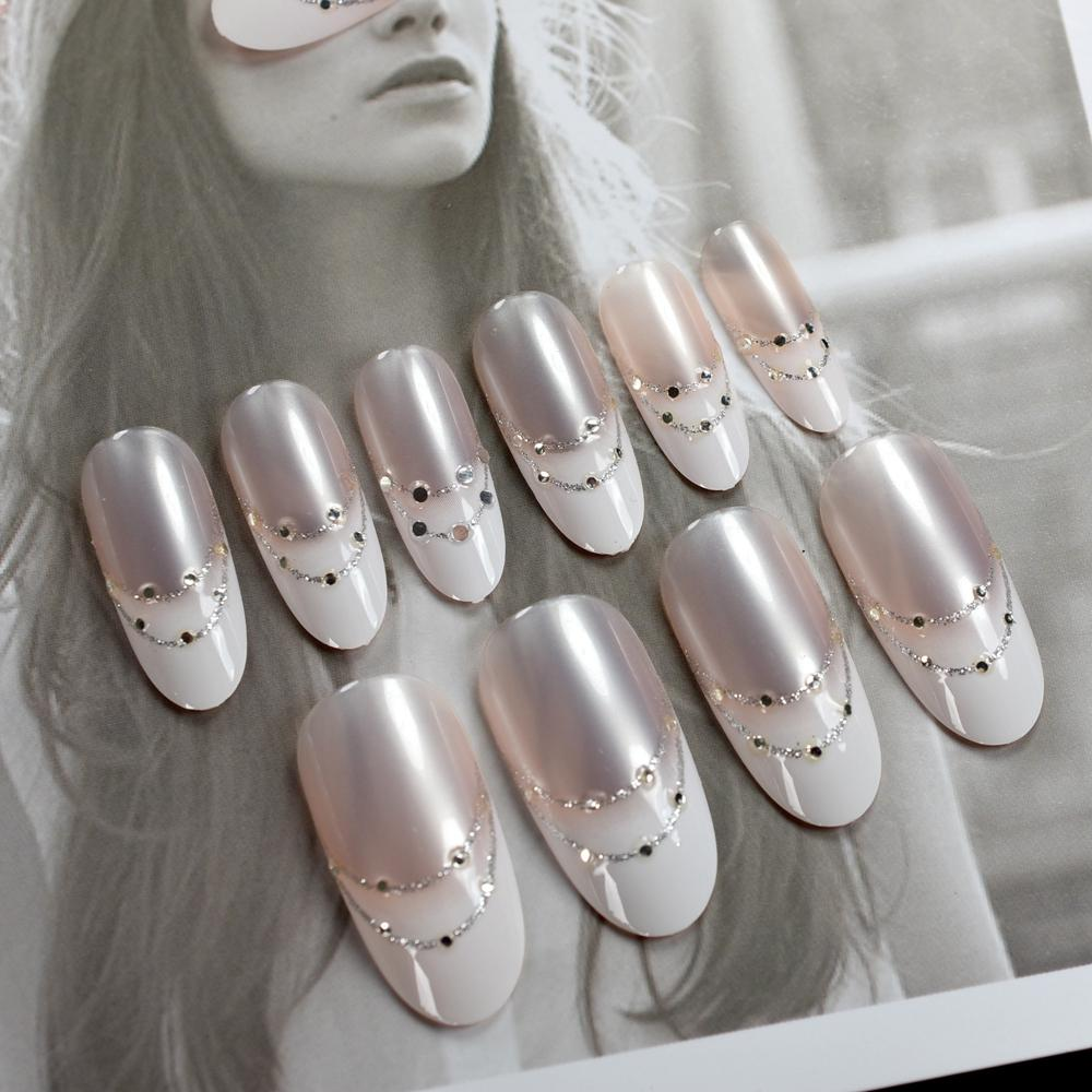 Shiny Natural French Nail Art Tips Long Size Round Full Cover