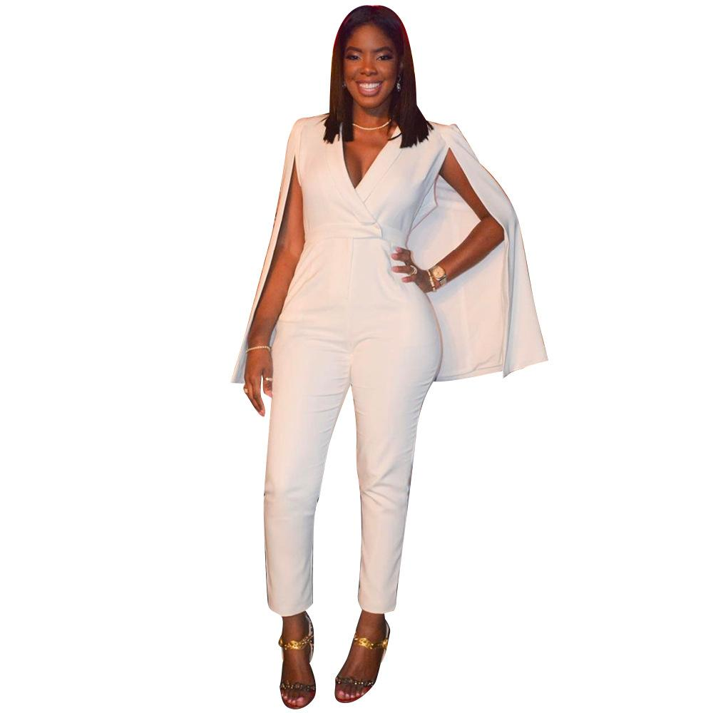 afac9dc8a700 2019 Rompers Womens Jumpsuit 2018 Summer Casual Full Bodysuit Deep V Neck  White Overalls Sexy Bodycon Jumpsuits L5133 From Begonier