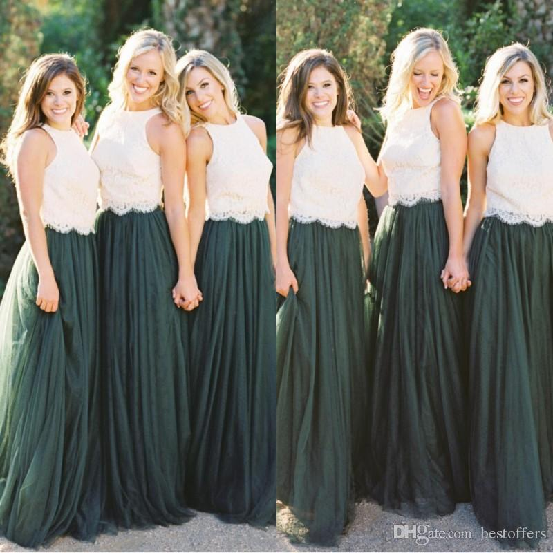 Junior Two Pieces Bridesmaid Dresses 2019 Boho Maid Of The Bride Evening  Gowns Formal Occasion Wear Plus Size Dark Green Lace Unique Bridesmaid  Dresses ... ce5bd2aef492