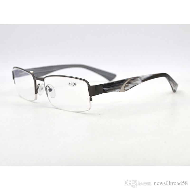 ca9f831fb5 High Quality Metal Half Frame Women Men Reading Glasses Spring Hinge Vintage  Acetate Leg Spectacles Glasses Magnifier Half Frame Reading Glasses Spring  ...