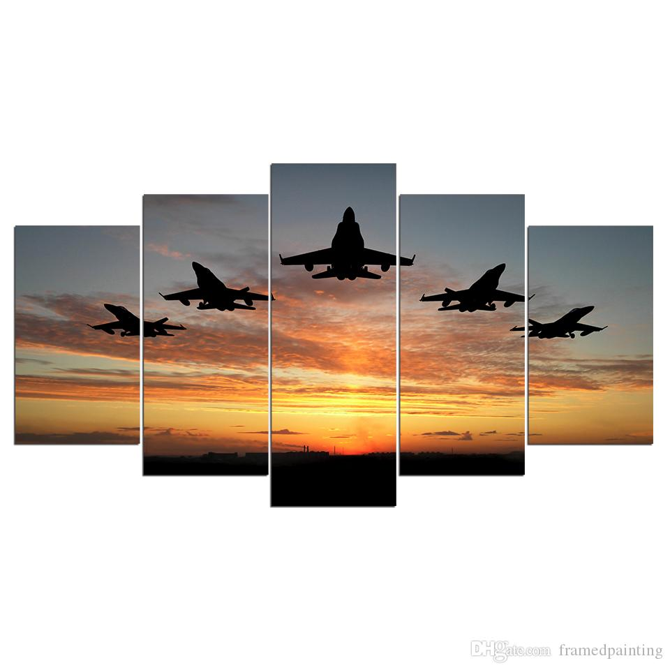 HD Printed Canvas Art Airplanes Fly Sunset Canvas Print Wall Pictures for Living Room Home Decor