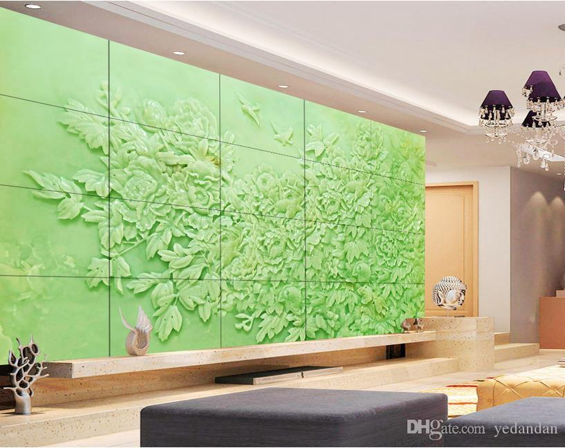 . Chinese gold Luxury Wallpaper Wallpaper For Living room Jade carving peony  Photo Wallpaper Mural