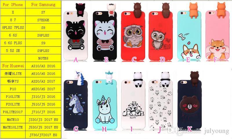 Fashion 3D Soft Silicone Case For Iphone X 8 7 Plus 6 6S SE 5 5S Cartoon Owl Unicorn Bear Panda Unicorn Cat Dog Cute Lovely Rubber Cover