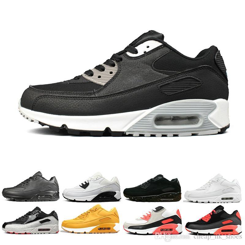 buy popular 43a99 b445d Großhandel Nike Air Max 90 Airmax 90 Preiswerter Verkauf 90 90er Jahre  Männer Frauen Laufschuhe Triple Schwarz Weiß Rot Cny Oreo Jogging Outdoor  Trainer ...