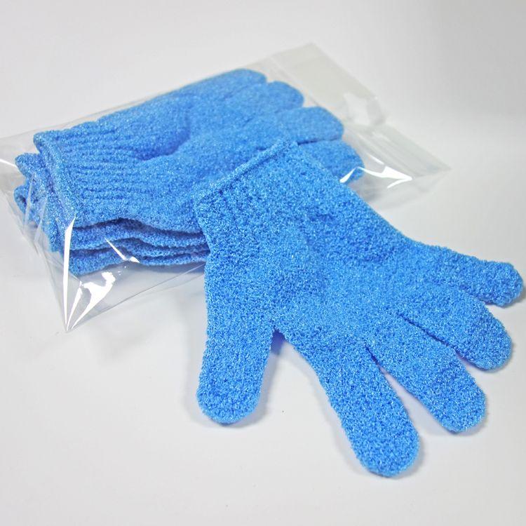 blue nylon body cleaning shower gloves Exfoliating Bath Glove Five fingers Bath Gloves