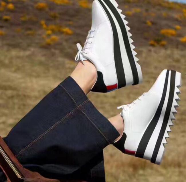 3ff1eb51c Compre 2018 Venda Quente! Stella Mccartney Sapatos De Qualidade Superior De  Couro Genuíno Mulheres Plataforma De Moda Cunha Plataforma Oxfords Aumentar  ...