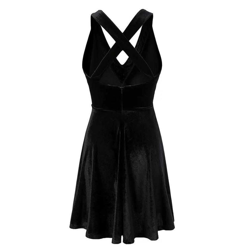 693f21a146 2019 Sexy Black Cross V Neck Twirly Halter Dress Sundress With Many Size  Women Gothic Punk Street Dress For Girl From Geinin