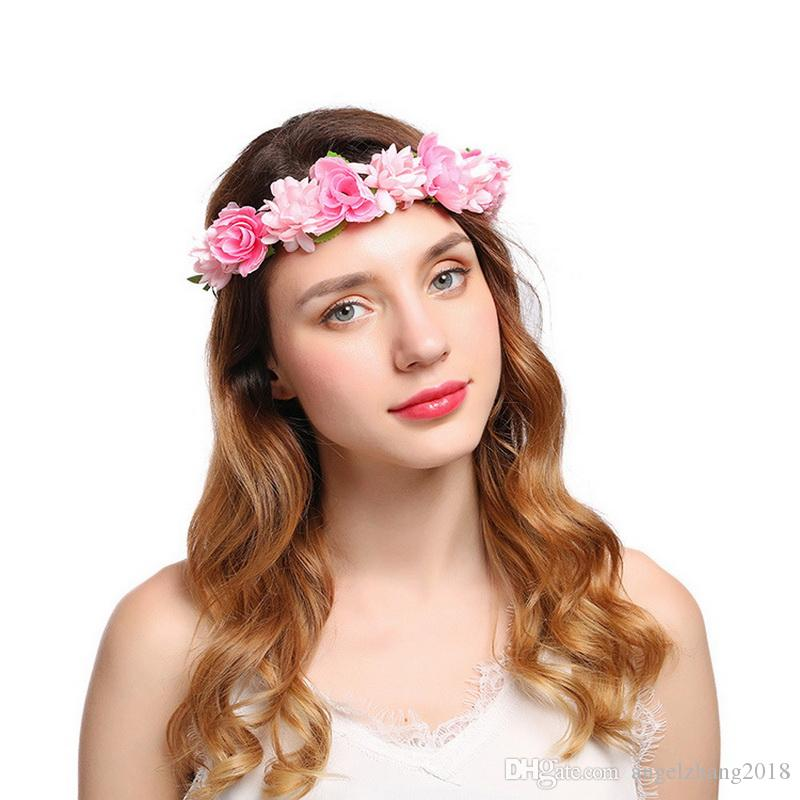Women Boho Head Band Floral Flower Crown Artificial Flower Headband Hair  Accessories Garland Wedding Hairband High Quality Product Womens Hair Clips  Hair ... 0d36462f62f