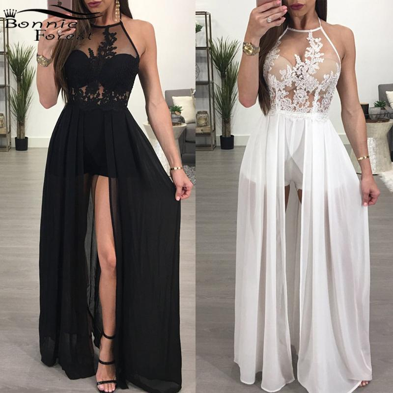 Bonnie Forest Elegant Floral Embroidery Maxi Skirt Romper 2018 Sexy Backless Chiffon Short Jumpsuits Overalls for Women Playsuit
