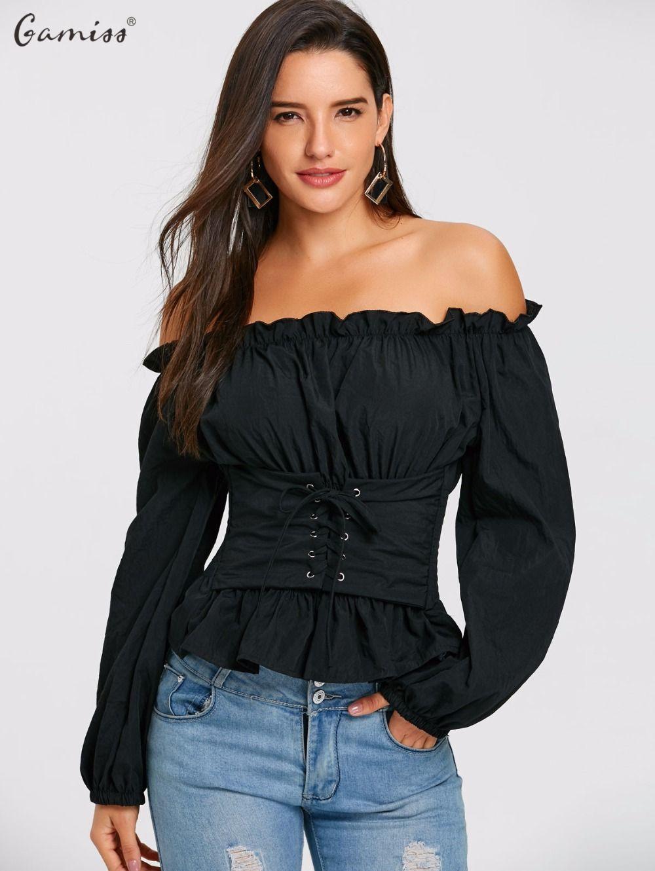d73e419448 Compre Gamiss Mujer Blusas Camisas Las Mujeres Negras Moda Fuera Del Hombro  De Encaje Hasta Blusa Smocked Casual De Manga Larga Para Mujer Tops Camisa  A ...
