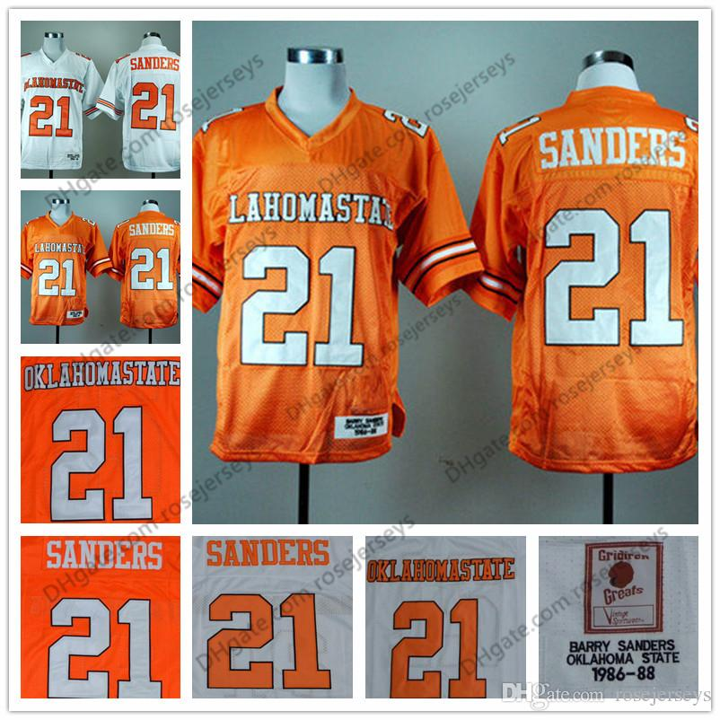 newest b388e 2f88a NCAA Oklahoma State Cowboys #21 Barry Sanders Retro Jerseys Orange White  1986-88 Vintage College Football Vintage Stitched Jersey S-3XL