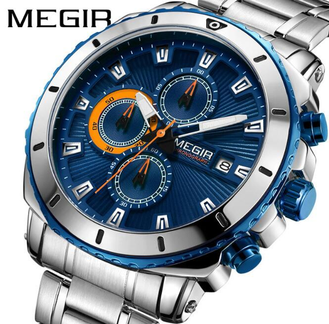 99952f49964f Compre Brw MEGIR Cronógrafo Cuarzo Reloj De Los Hombres Marca De Lujo De Acero  Inoxidable Relojes De Pulsera De Los Hombres Reloj Hora Relogio Masculino A  ...