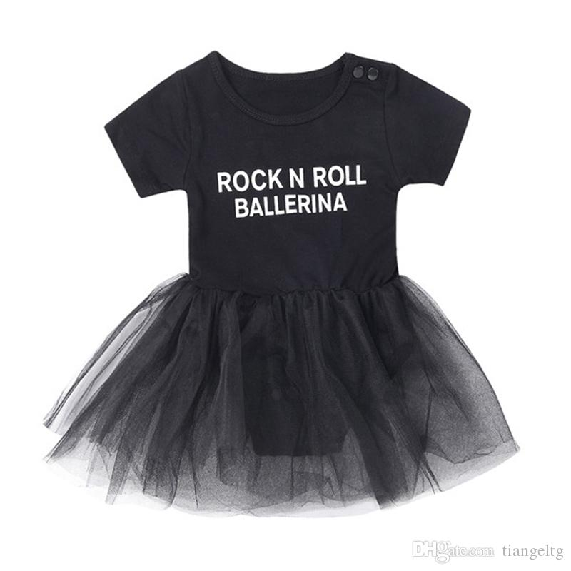 06542ff1c 2019 Baby Girls Jumpsuit&Skirt Black ROCK N ROLL BALLERINA Letters Printing  Two Piece Clothing Sets TUTU Skirt Outfits From Tiangeltg, $4.41 |  DHgate.Com