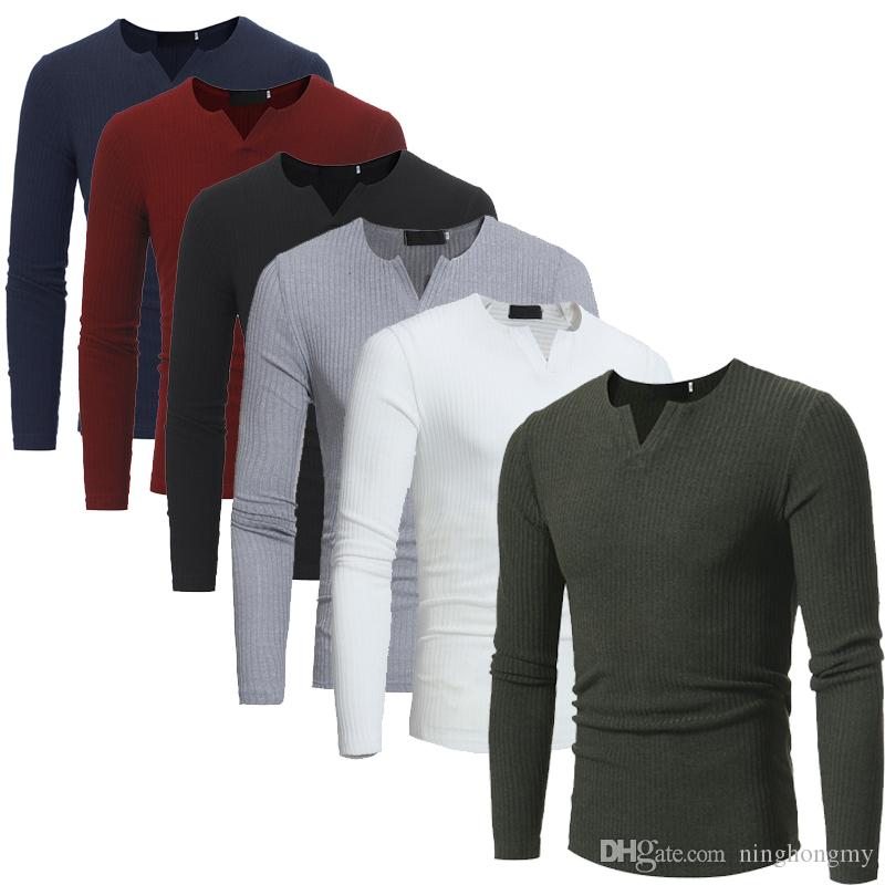 New Autumn Korea Men\'S T Shirt Fashion Casual Slim V Neck Long ...