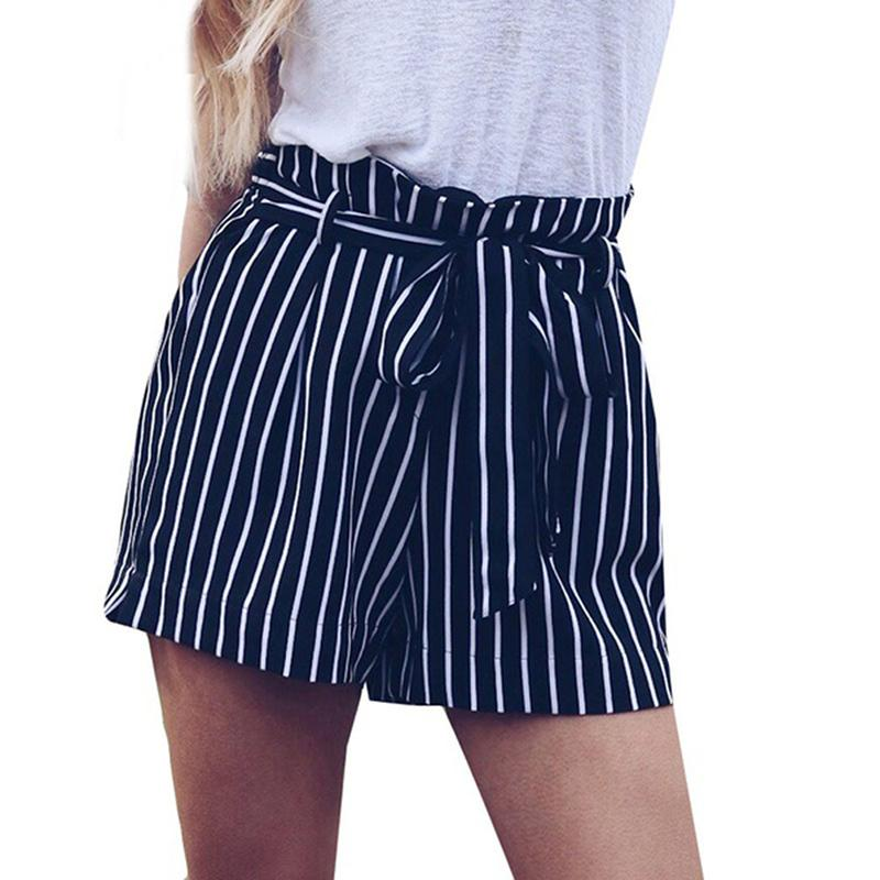 49a0ccbb45 2019 Women Tie Belt Striped Shorts Elastic Waist Wide Leg Bowknot Shorts  Summer Female Fashion Shorts 2019 New From Jincaile05