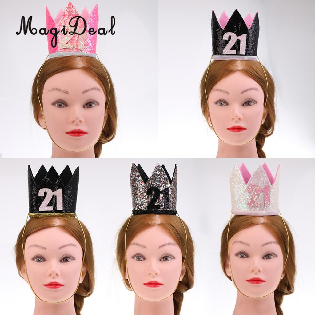 MagiDeal Happy 21st Birthday Crown Hat Princess King Adult Turning 21 Party Decorations Cap Paper Hats From Meetamo