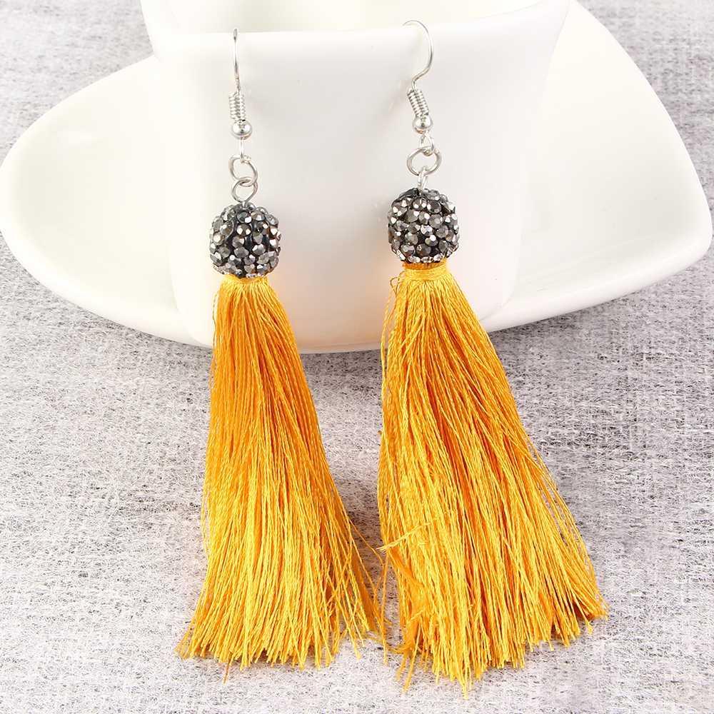 2019 New Handmade Tassel Earrings For Women Fashion Jewelry Bohemian Drop  Dangle Long Earrings Silk Fabric Ethnic Vintage Earings From Haoyunduo c757a96066bf