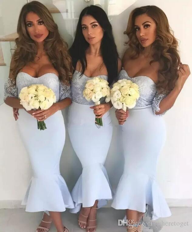 저렴한 2019 빈티지 웨딩 레이스에 대한 어깨에 들러리 드레스 오프 인어 공회당 파티 드레스 높은 낮은 메이드 오브 아너 드레스
