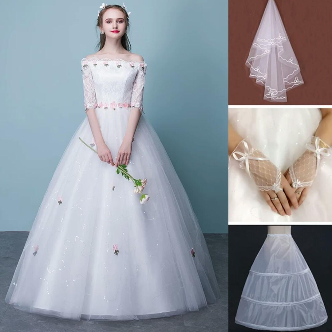 The Wedding Dress Of Get Married With Chiffon Bateau 1/2 Sleeve ...