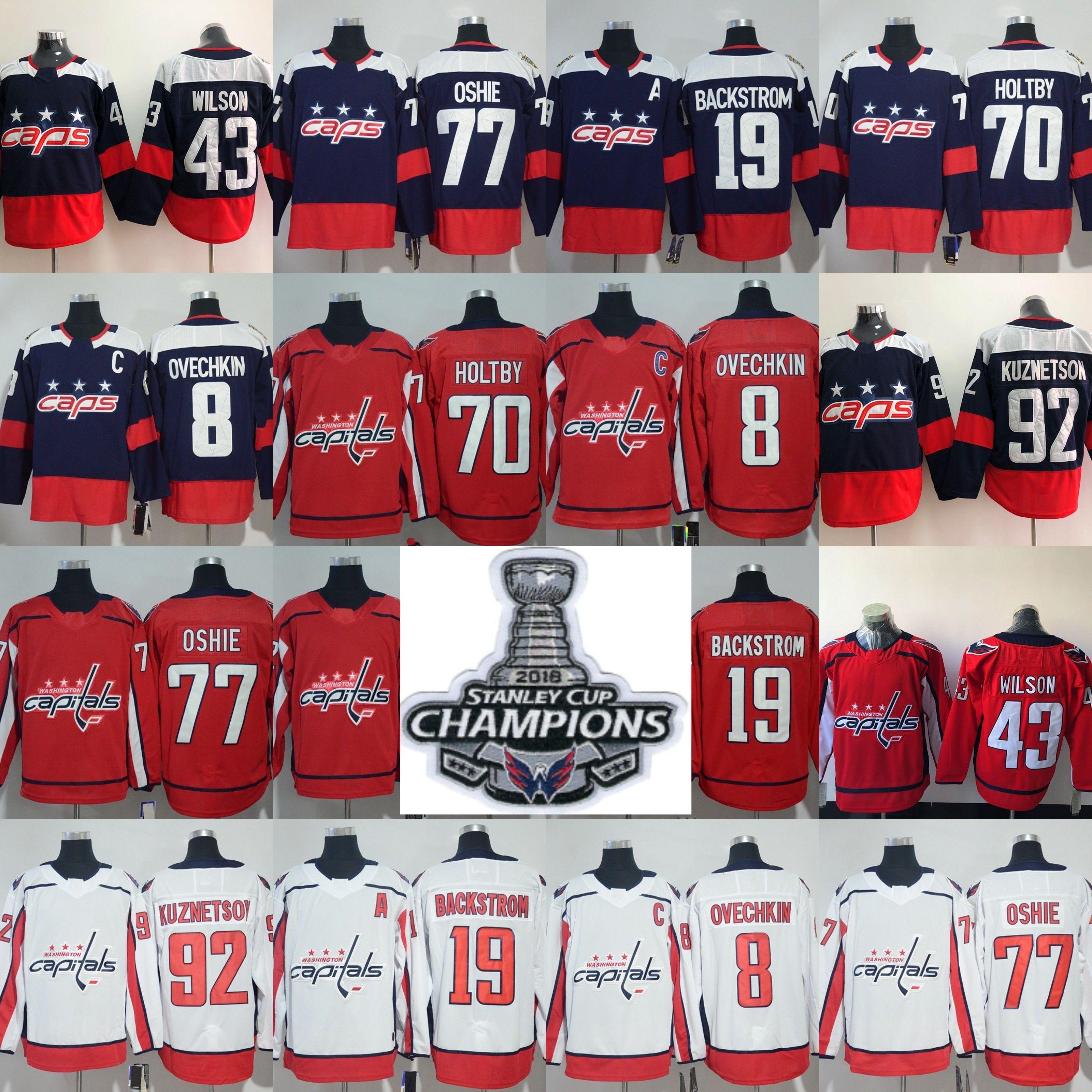 5c33ab905 2019 2018 Stanley Cup Champions Washington Capitals 8 Alex Ovechkin 77 TJ  Oshie 70 Braden Holtby 92 Evgeny Kuznetsov Nicklas Backstrom Jersey From  Jersey ...