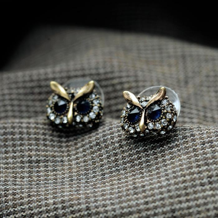 KISS ME 2017 Statement Trendy Jewelry Elegant Antique Gold Color Owl Stud Earrings for Women Factory Wholesale