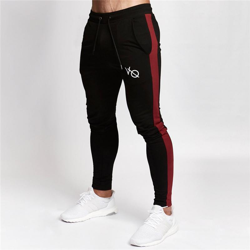 e79e8a0b46163 Compre Pantalones De Jogging Para Hombres Pantalones Deportivos De Rayas Pantalones  Para Correr GYM Hombre Algodón Largo Fitness Jogger Bodybuilding ...