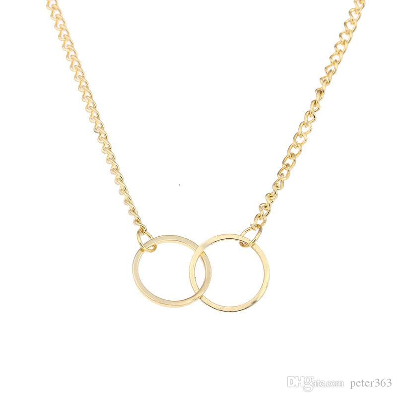 Circle Necklces for Women Gold Silver Alloy Pendant Necklace With Gift Card Fashion Jewelry Holiday Gifts