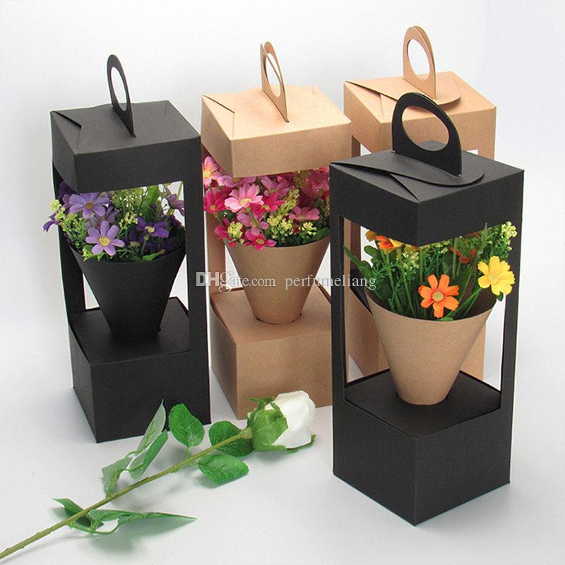 Flowers Packaging Gift Boxes Floral Gift Bag lighthouse design Creative folding floral Packing Box Black/Brown QW8837