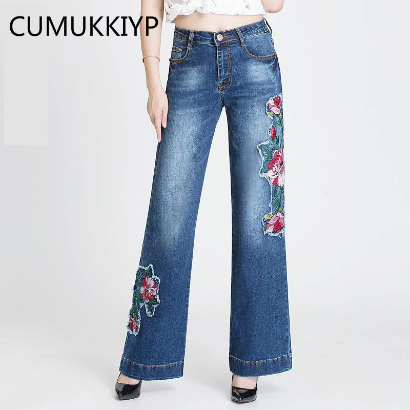 c978f9489fa 2019 CUMUKKIYP Folk Custom Bell Bottom Jeans Woman Flower Patch Embroidery  Beading High Waist Jeans Embroidered Wide Leg Flare Pants From Aimea, ...