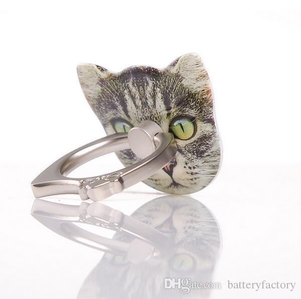 Forma linda del gatito 360 Roating cat Finger Ring soporte del teléfono móvil soporte para iPhone Samsung Huawei Xiaomi todos los teléfonos inteligentes con caja al por menor