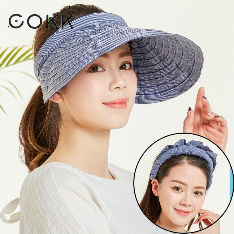 2019 COKK Chapeau Femme Summer Hats For Women Sun Visor Cap Beach Hat  Ladies Sun Hat Female Sports Headband Hairband Suncreen Visor S18101708  From Datai e8fd805bed36