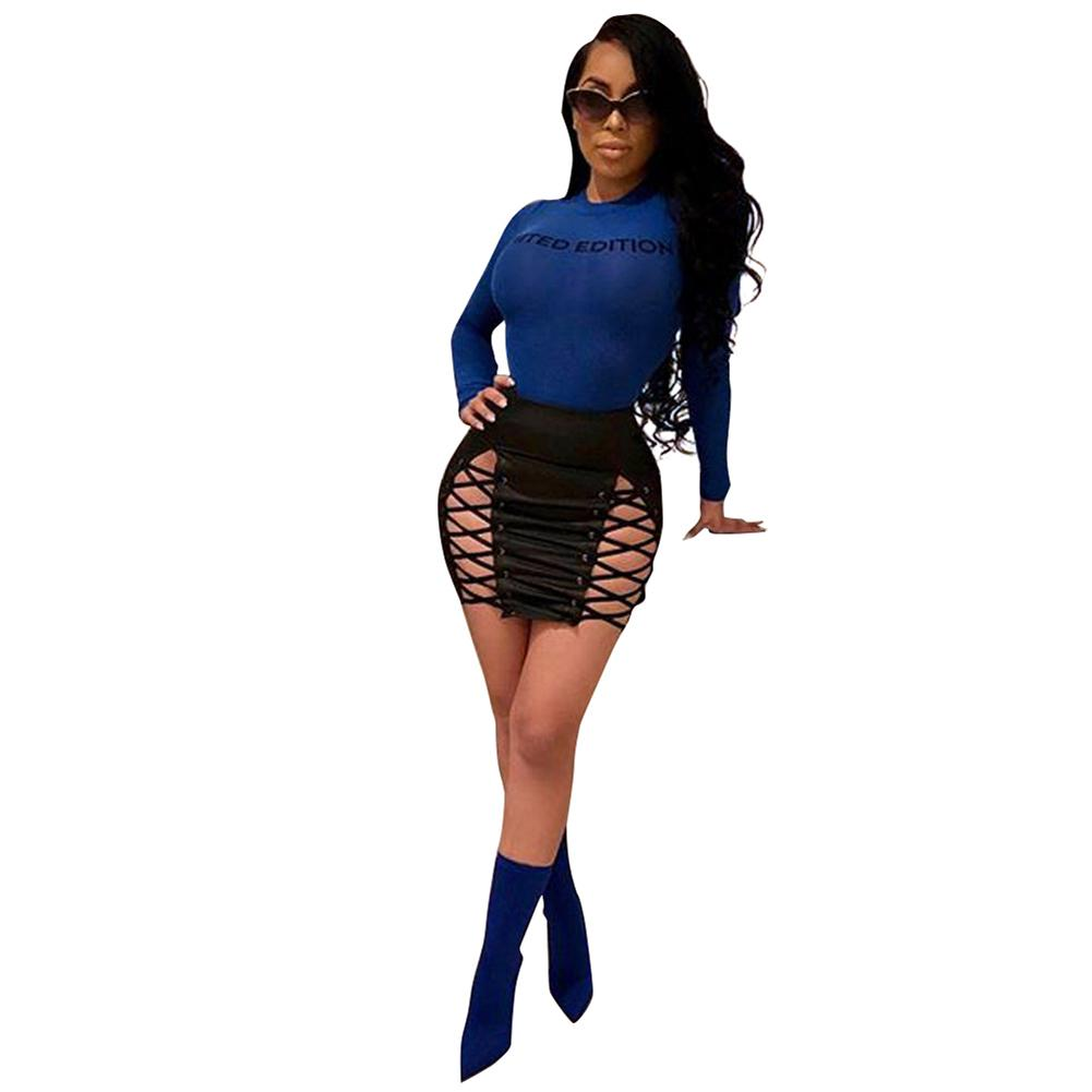 2018 Women Pu Faux Leather Skirt Lace Up Sexy Mini Pencil Skirt 2019