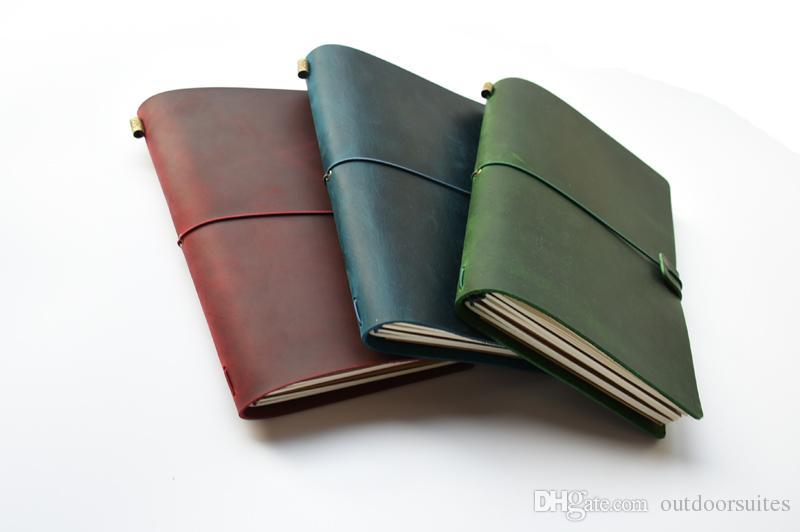 Vintage hecho a mano de cuero de vaca cuaderno de viajero diario diario cuaderno de bocetos Planificador de papel de oficina rellenable regalo de cumpleaños de la escuela