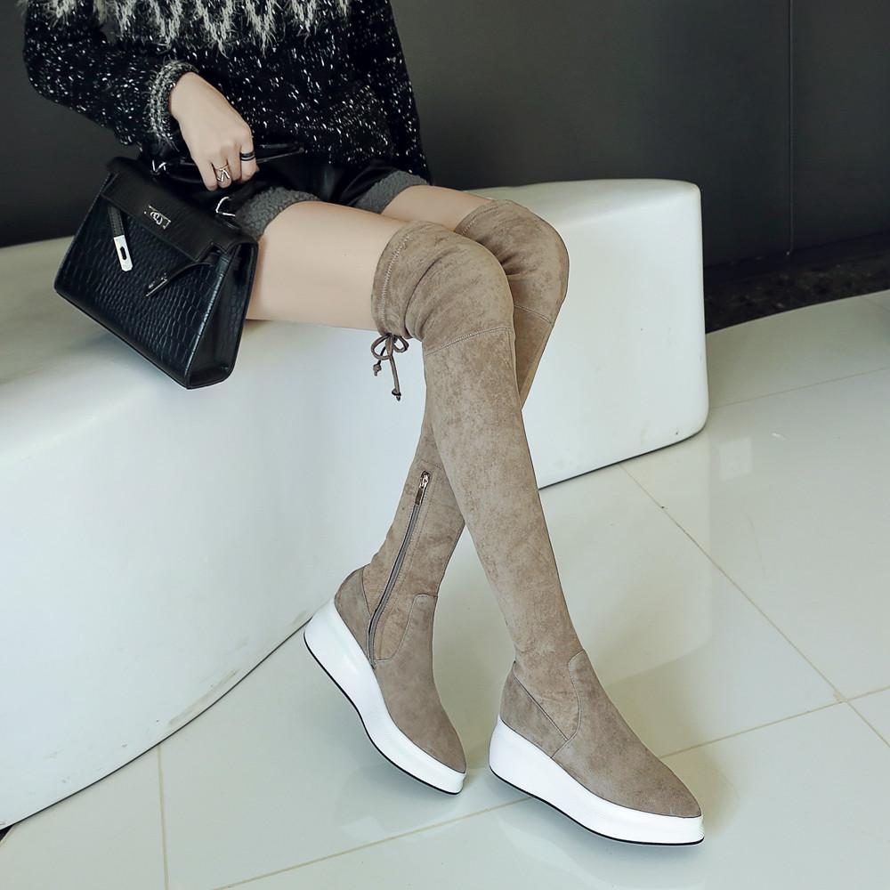... De Gamuza Sintética Sobre Las Botas De Rodilla Para Las Mujeres Estirar  Los Zapatos Frío Otoño Invierno Cálido Botas Largas Para Mujer Plataforma  Cuñas ... 3ac461ceda0a