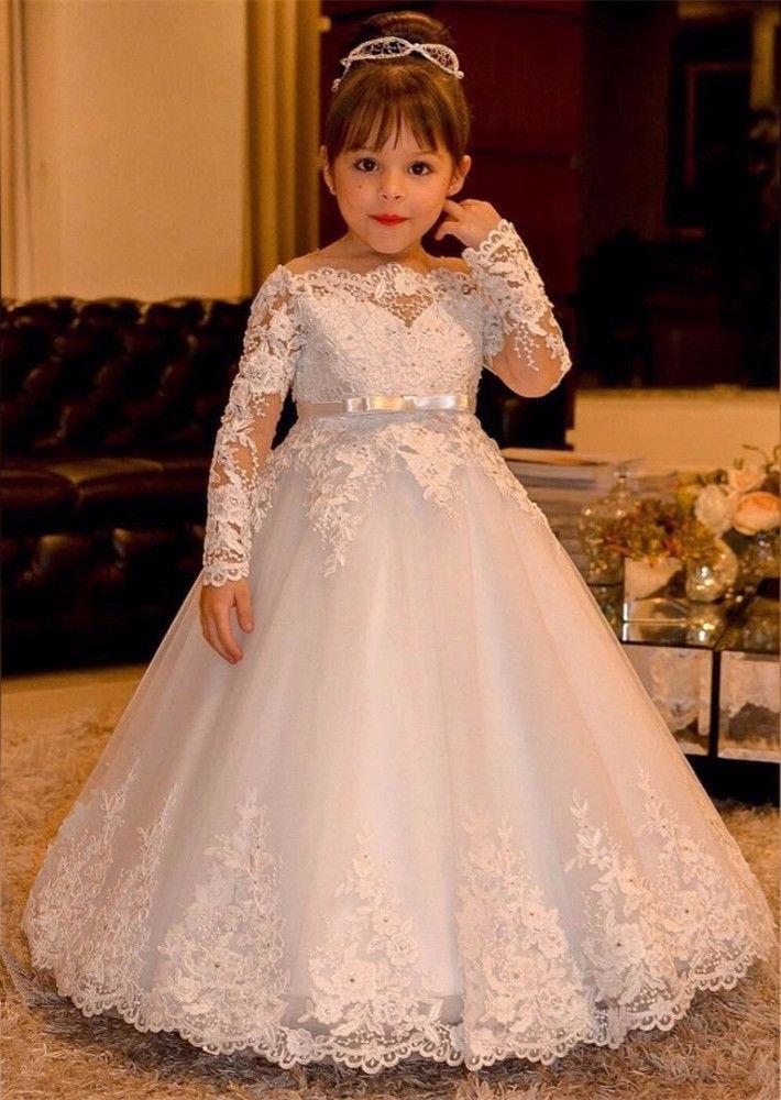7959d8d45 Compre Blanco   Marfil Niños Ropa De Niña Flores De Encaje De Manga Larga  Vestido De Niñas Para Bodas Niñas Vestidos De Primera Comunión Ocasión  Formal A ...
