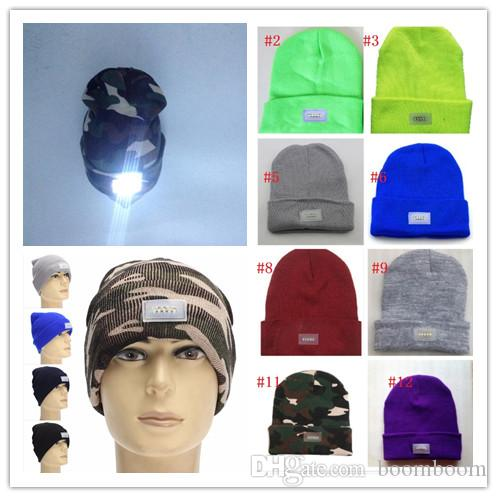 0ec79eaf1f8 2019 Winter Warm LED Light Beanies Hat Sports Beanie Knitted Cap Hunting  Camping Running Hat Unisex Beanies Cap From Boomboom