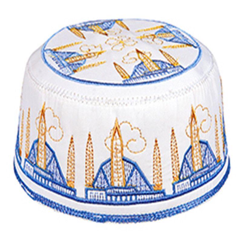 d0dd1f36465 2019 Cotton Islamic Style Men Hat Embrodery Muslim Prayer Cap Turkish Arabic  Taqiyah Tagiya Topi Kufi Skull Caps H 57 From Godefery