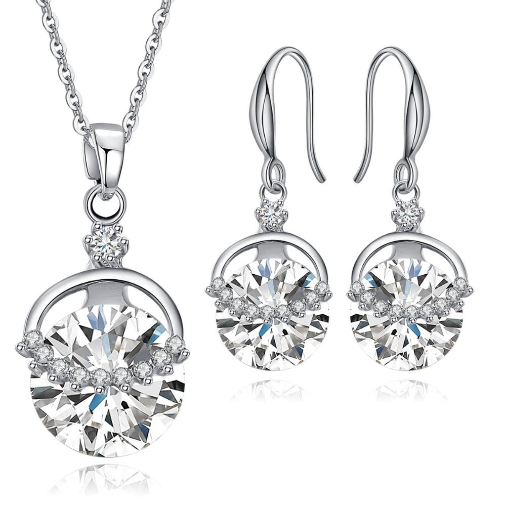 Jewelry Sets for Women Round Cubic Zircon Hypoallergenic Copper Necklace/Earrings Jewelry Sets Wedding Gifts Wholesale